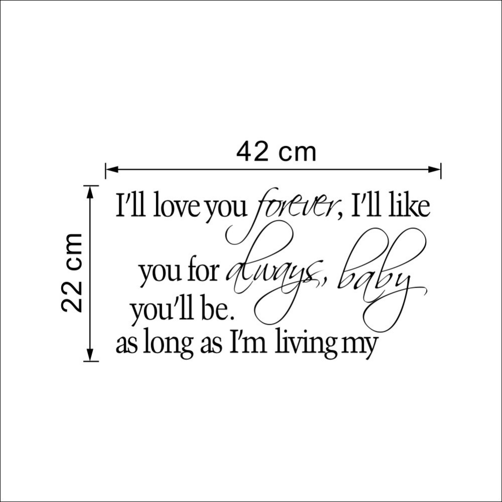 I Love You Forever I Like You For Always Quote 8453&% I Will Love You Forever Like You Always Vinyl Wall Sticker
