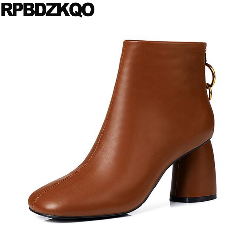 цена на Square Toe 2017 Designer Shoes Women Luxury Ankle Booties Chain Boots Brown High Heel Winter Chunky Zipper Metal Genuine Leather