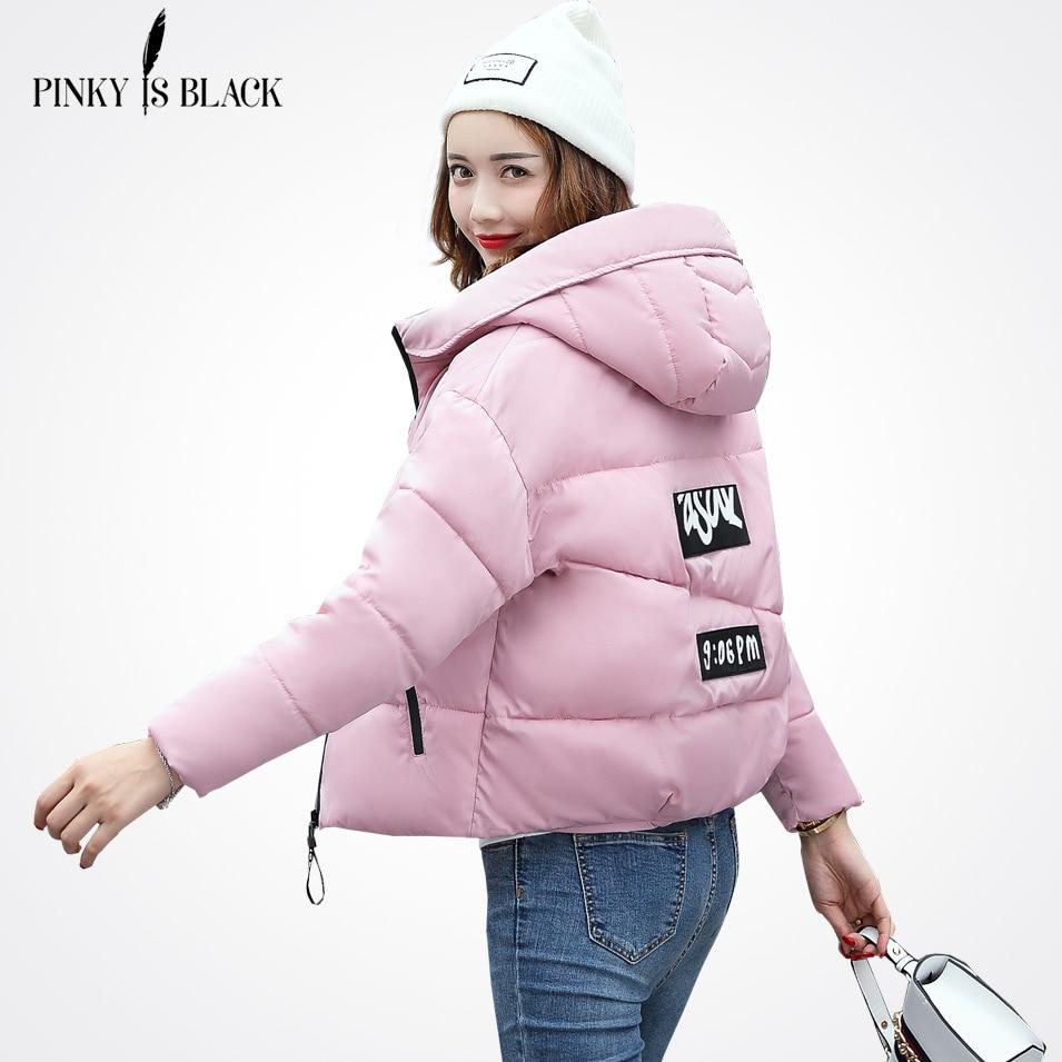 Pinky is fekete téli kabát női pamut rövid kabát 2018 új párnázott vékony kapucnis meleg parkos kabát női őszi felsőruházat