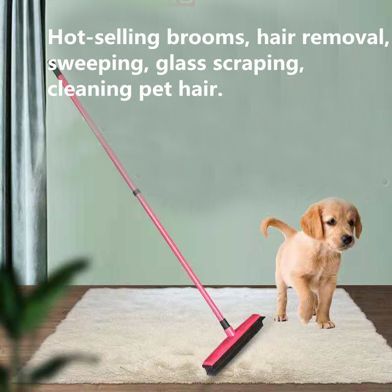 Multifunctional telescopic broom magic rubber besom cleaner pet hair removal brush home floor dust mop carpet