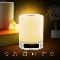 Wireless Bluetooth Speaker Music Box with Alarm Clock Touch LED Table Lamp Night Lamp Support Call TF Card Slot