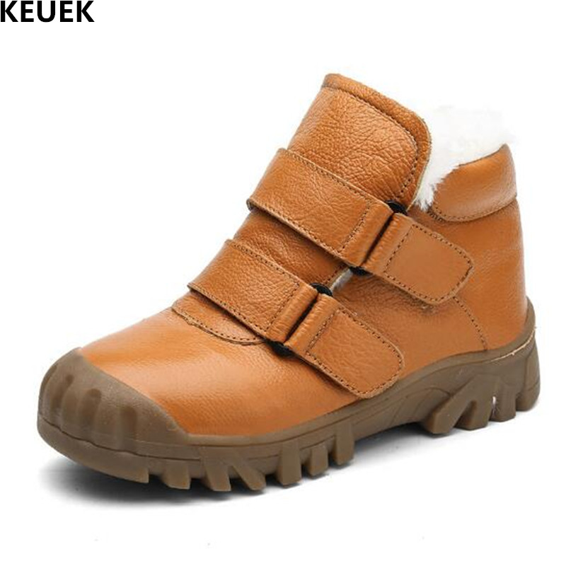2018 New Children Thick Plush Casual Shoes Boys Genuine Leather Snow Boots Kids Baby Warm Ankle Boots Student Girls Shoes 041 new designer children cowboy boys boots knitting fabric upper ankle boots kids orthopedic sport gym shoes for girls baby boots