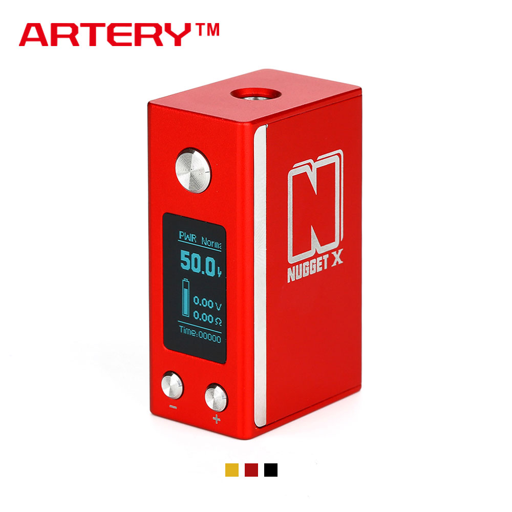 New Original 50W Artery Nugget X TC Box MOD with 0.96-inch OLED Screen & Built-in 2000mAh Battery with 50W Max Output E-cig Mod