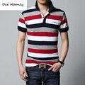 ДИ MOONLY Polo 2017 летом новый мужской полосатый polo shirt бренд высокого качества 100% хлопок мужская с коротким рукавом polo shirt M/4XL