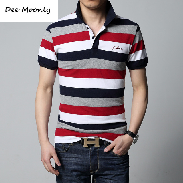 DEE MOONLY Polo 2017 summer new men's striped polo shirt brand of high quality 100% cotton men's short-sleeved polo shirt M/4XL