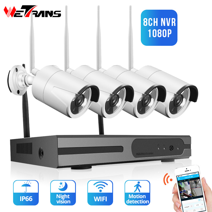 Wetrans Security Camera System 8CH 1080P NVR Video Surveillance 4 Wifi Cameras with HDD 2MP HD
