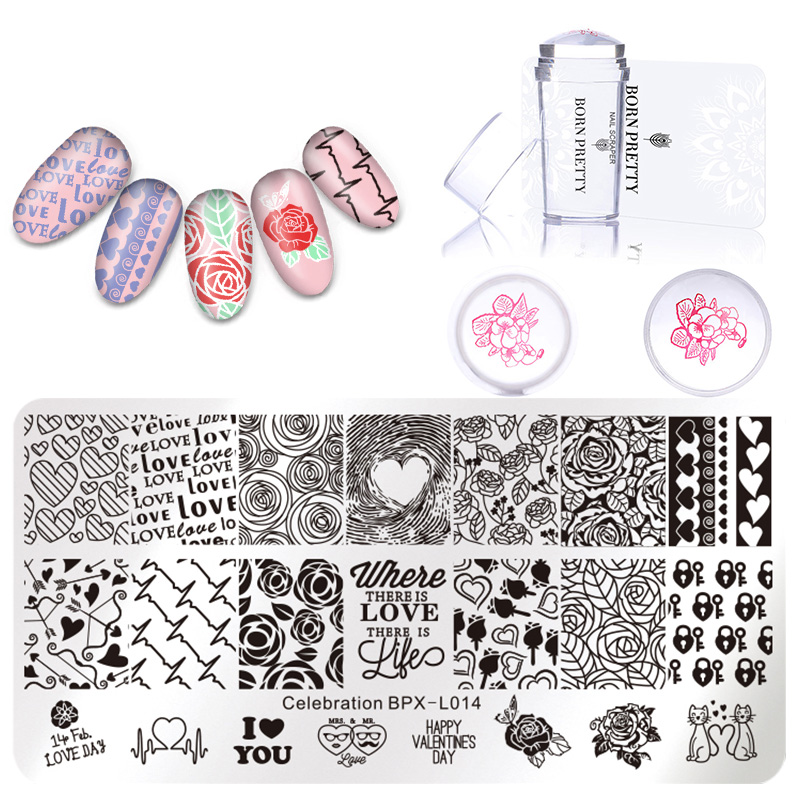 BORN PRETTY Nail Art Stamping Template Animal Lace Flower Pattern Rose Geometry Image Plate Stamper Scraper Set Nail Art Tool in Nail Art Templates from Beauty Health