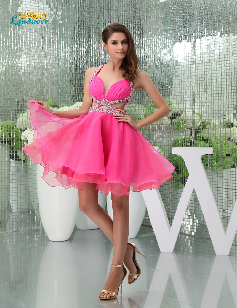 Sexy hot rose red gasa beads Mini Short Prom vestidos vestido de ...