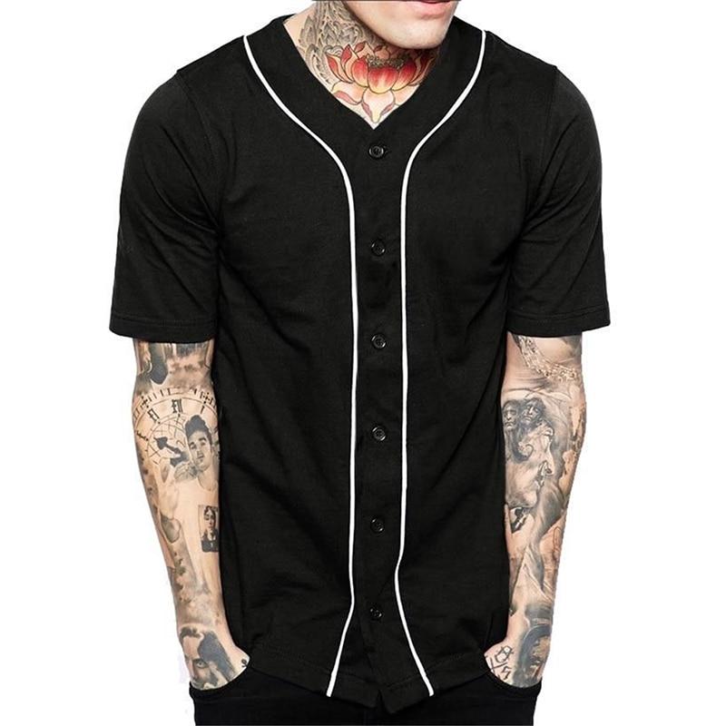2019 Solid Color Men Baseball T-shirts Summer Short Sleeve Fashion Tshirts Casual Streetwear Trendy Style Baseball Tee Shirts