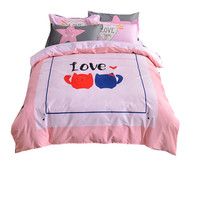 100% cotton 3D cat love Child/kids Bedding Set Printed Bedspread Bed Sheet 4Pcs Queen birthday Holiday gift