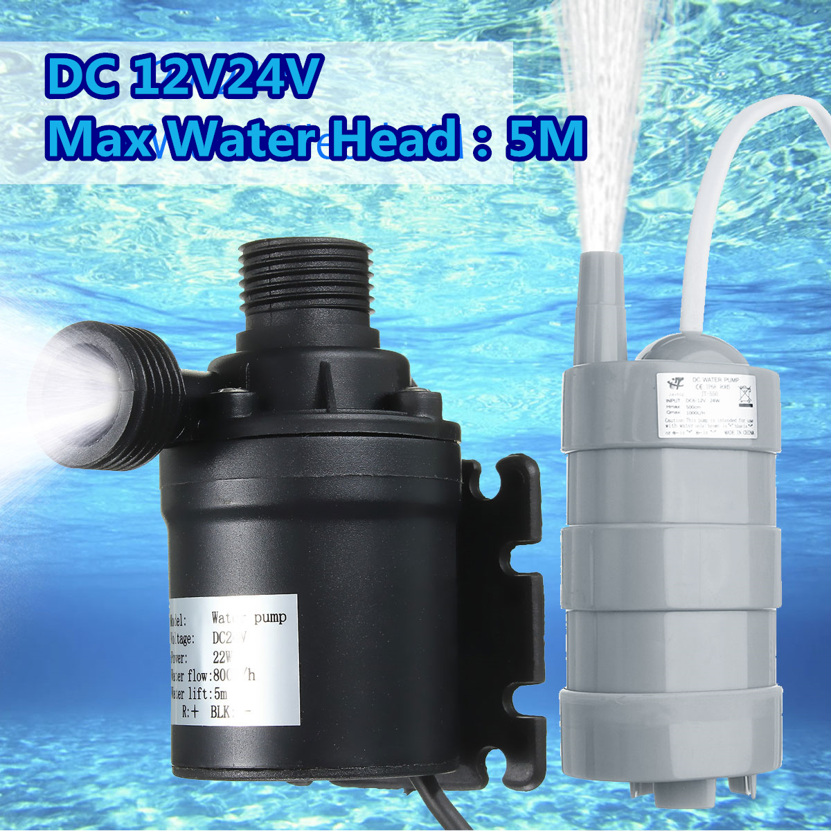 DC 12V 24V Solar Pump Brushless Magnetic Submersible Water Pump 5M Lift for Pond Rockery Garden Fountain 1000L/H сапоги tervolina сапоги в стиле чулок стрейч