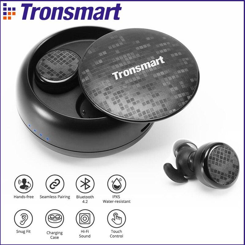 Tronsmart Corajosa IPX5 Gomos Fones de Ouvido Bluetooth Fones de Ouvido Sem Fio com Bluetooth & Microfone Estéreo para Telefones À Prova D' Água