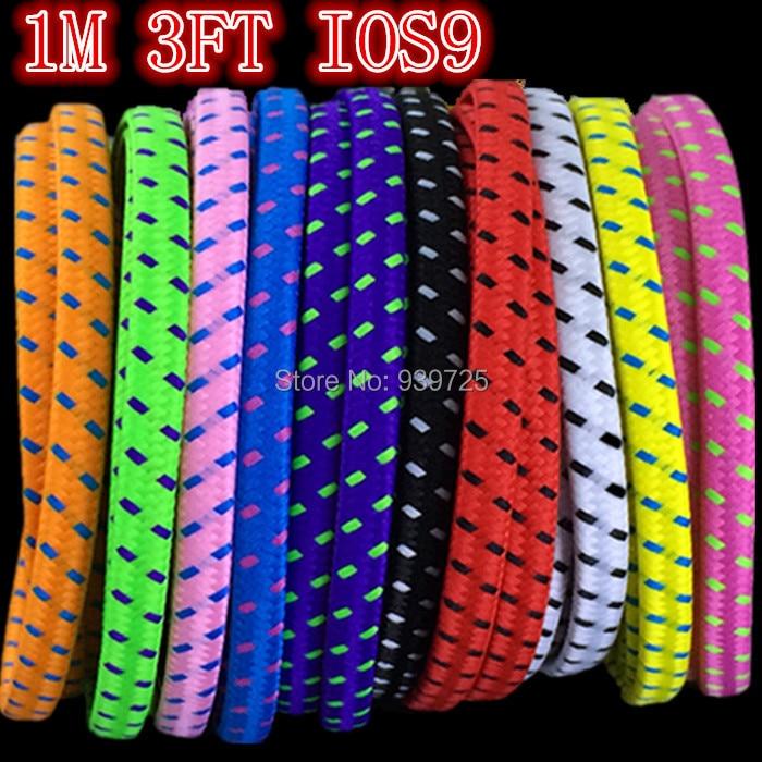 imágenes para 1000 unids/lote Colorido 3FT 1 M Tela de Nylon Plana Fideos cable USB 8PIN Paquetes de accesorios para el iphone 6 plus 5 5S 5C IOS 9