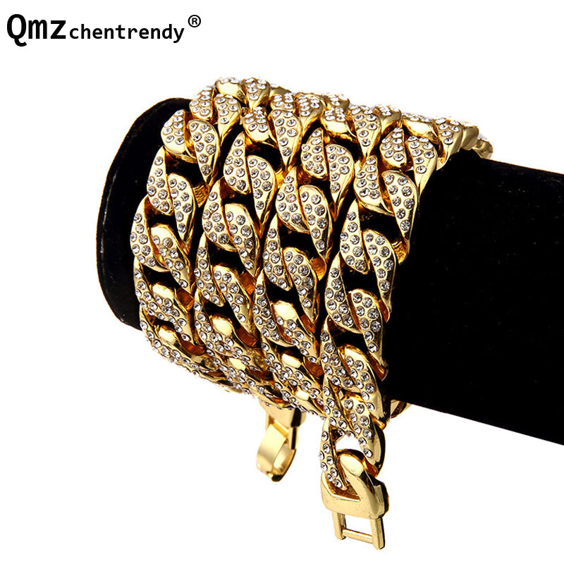 Extra-coarse Golden Miami Cuban Link Fully Iced Out Diamante Bling CZ Necklaces Hip Hop Cool Jewelry Hipster Men Chain Necklace цена