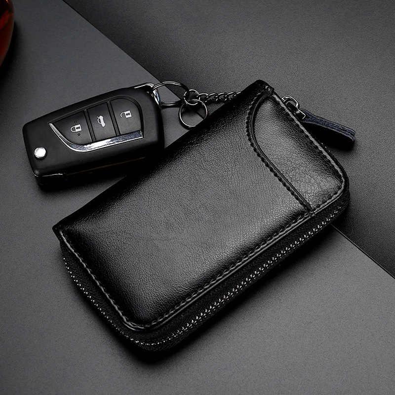 Couro genuíno chaveiro unissex saco chave multifuncional organizador titular da carteira inteligente governanta carro pequeno caso chaves bolsa