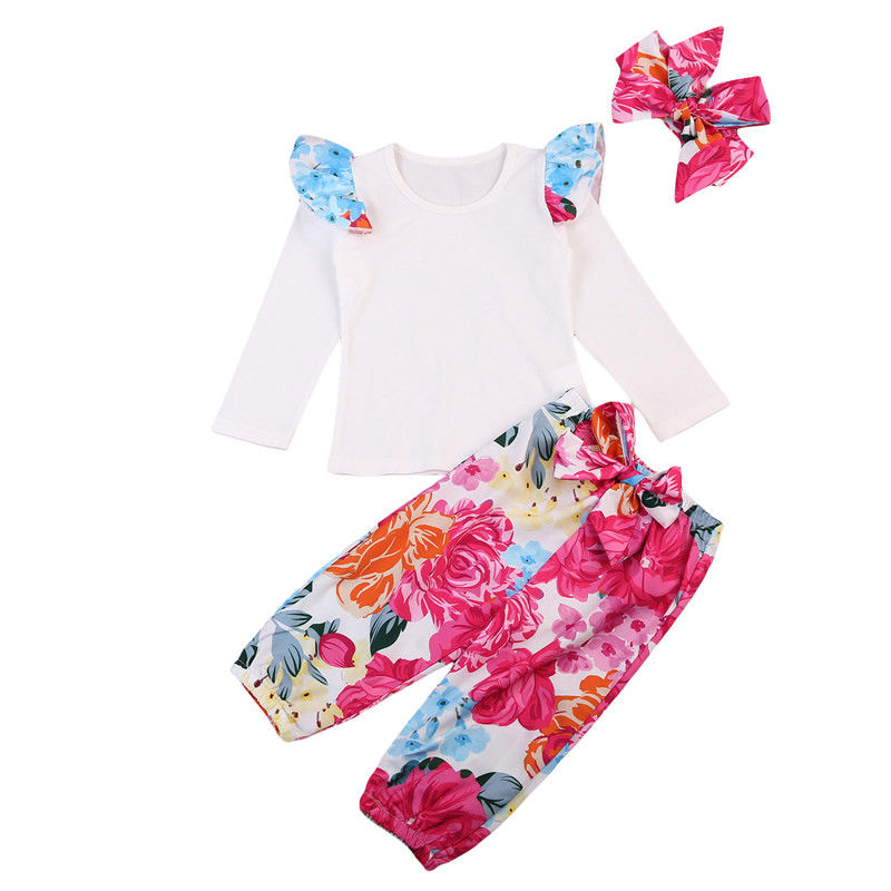 Newest Sweet Hot Sale Infant Baby Girl Autumn Long Ruffled Sleeve White T-shirt Floral Bow Baggy Pants Headband 3PCS Casual Set