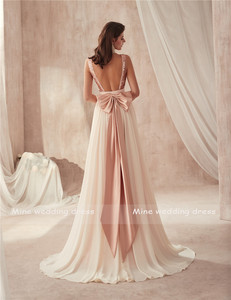 Image 4 - V neck Champagne Sequin and Chiffon Bridesmaid Dress with Huge Bow Back Open Back Wedding Party Dresses