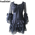 FeelinGirl Black Lace Dress Corset Shirt Victorian Gothic Women's Bolero Corset Top -E Puffy Dress Hem Top