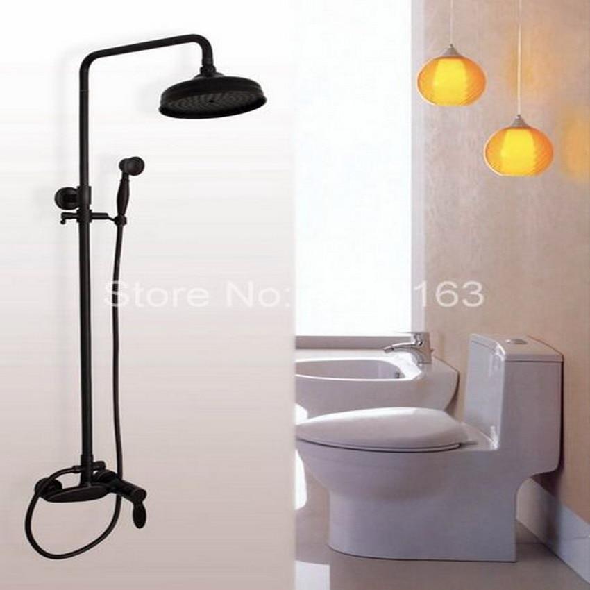 Luxury Oil Rubbed Bronze Wall Mounted Single Handle Bathroom Rain Shower Faucet Set + Handheld Shower ahg049