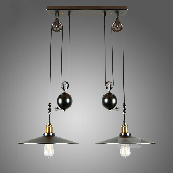 Vintage RH Loft Industrial LED American Country Pulley Pendant ...
