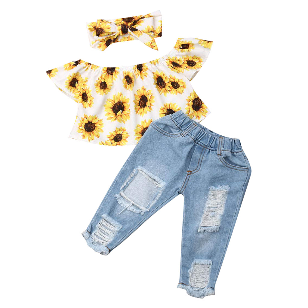 Autumn Baby Girls Clothes Sets Toddler Newborn Outfits Off Shoulder Sunflowers Tops+Denim Jeans Pants Babyborn Roupa Infantil