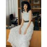 White Long Dress 2019 Summer Princess Women Polka Dot Print Appliques Lace Patchwork Sleeveless Long Party Maxi Dress Festival