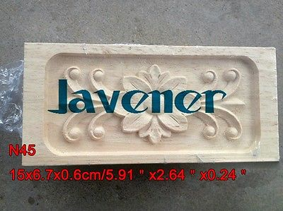 N45 -15x6.7x0.6cm Wood Carved Long Square Applique Flower Frame Door Decal Working Carpenter
