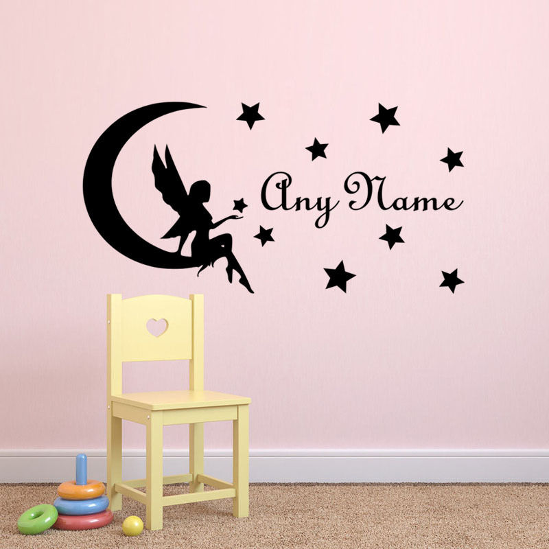 Name Stickers For Girls Room Baby Girl Nursery Wall Decal Personalized Art  Decals Fairy On Moon With Stars Wall Sticker ZA590 In Wall Stickers From  Home ... Part 61