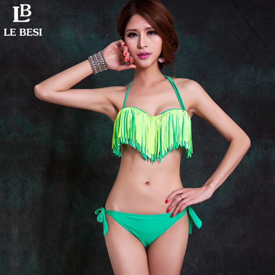 ФОТО LE BESI 2016 New Tassel Bikini Plus Size Trikini Women Bikini set Swimwear Push Up Underwire Push Up Swimsuit Lady Bathing suit