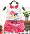 BibiCola 2017 crianças meninas do bebê roupa de verão criança família conjunto de roupas de treino roupas definir minnie mouse T-shirt + short pant