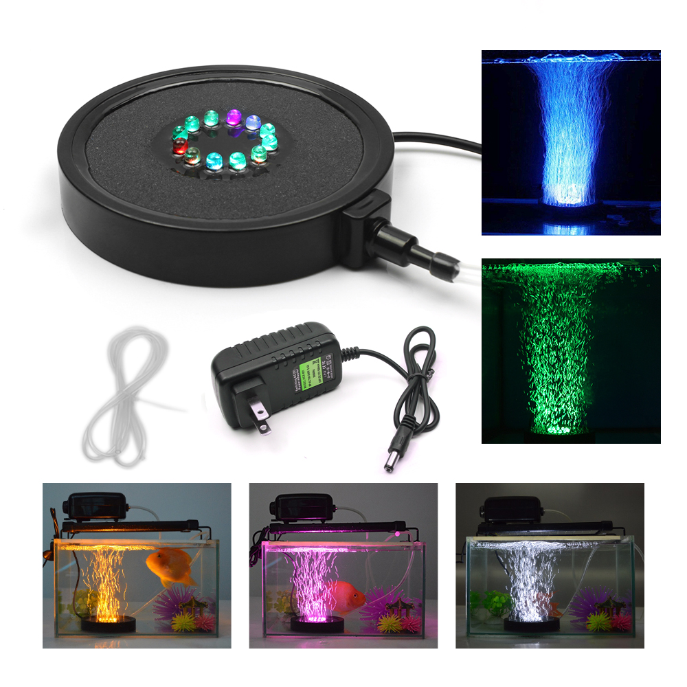 12LEDs Aquarium Led Lighting Round 5050 RGB Fish Tank Light Waterproof Underwater Bubbler Lamp Submersible Air Pump with US Plug xi long ap 001 super quiet aquarium pet fish oxygenated air pump black 2 round pin plug