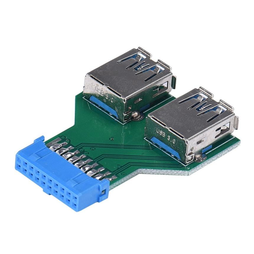 2017 Standard Motherboard 19 Pin Header To 2 Ports USB 3.0 A Female HUB Adapter Connector for PC Computer hub adapter 3 usb 2 0 ports