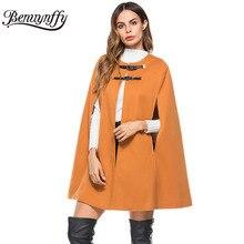 Benuynffy, кожаный плащ с пряжкой, пончо, Женское пальто, новая мода, Круглый ворот, шерстяное пальто, женское, Осеннее, свободное, накидка, пальто W511