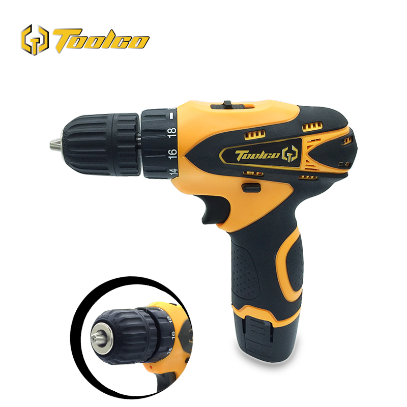 Toolgo Electric Cordless Drill Lithium Battery Mini Drill Screwdriver 2 Speed Power Tool Home DIY Wood