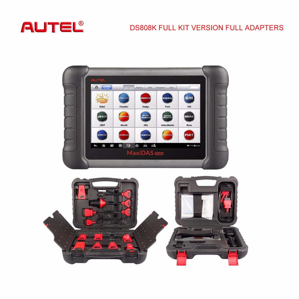 Autel MaxiDAS DS708 DS808 DS808K Full Adapters version OBD2 car diagnostic and ECU Coding Tool Auto Scanner Better than DS708