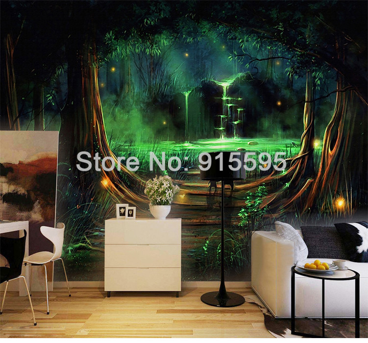 HTB1Q6dwQXXXXXXpaFXXq6xXFXXXm - Wall Home Decor Custom Photo Wallpaper 3D Abstract Forest Waterfall Animal Children Room Bedroom Non-woven Wallpaper Murals 3D