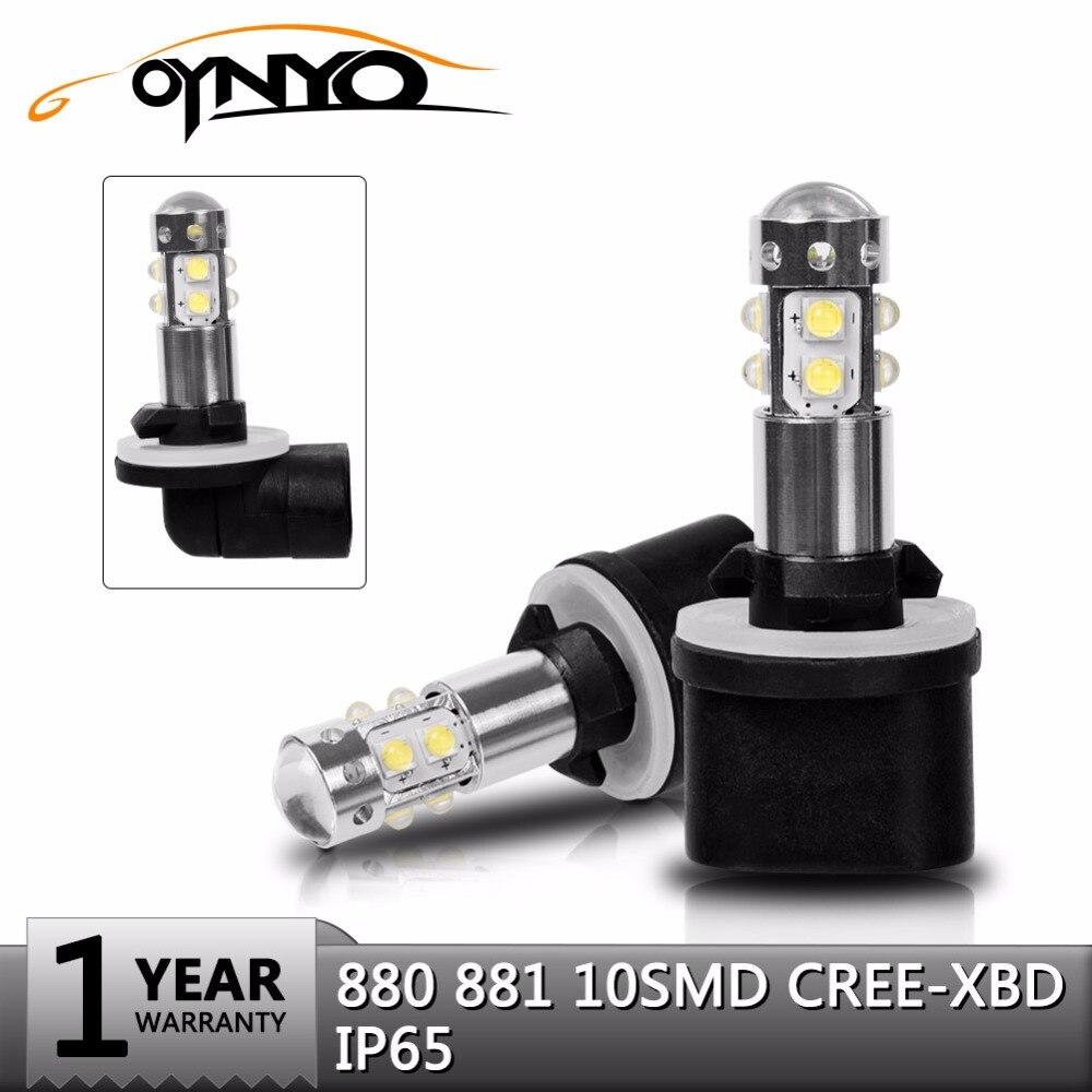 oynyo 2Pcs H27 880 881 LED Car Lights LED Bulbs White Ice Blue Daytime Running Lights DRL Fog Light 6000K 8000K Driving Lamp