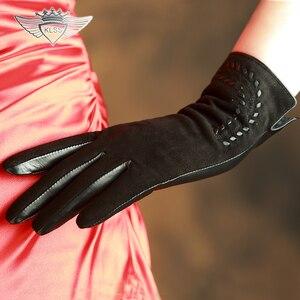 Image 5 - KLSS ブランド本革の女性の高品質ゴートスキン手袋秋冬エレガントなシープスキン手袋女性 2303