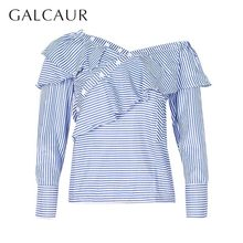 GALCAUR Summer Striped One Shoulder Women Blouse Long Sleeve Irregular Ruffles Slim Shirt Female Fashion Clothes 2019 New(China)