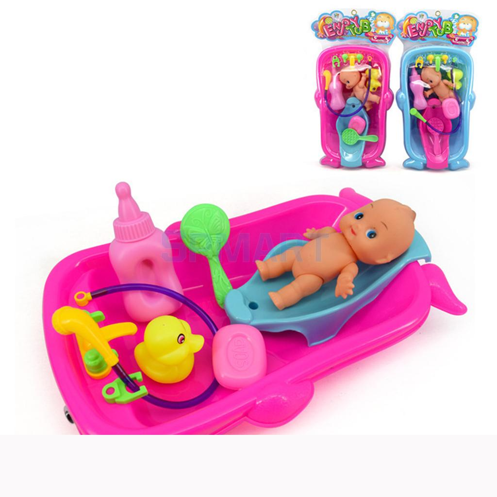 Set of Toddler Baby Adult Role Pretend Play Game Doll Bath in Bathtub Developmental Preschool Water Toy w/ Doll Gift Red