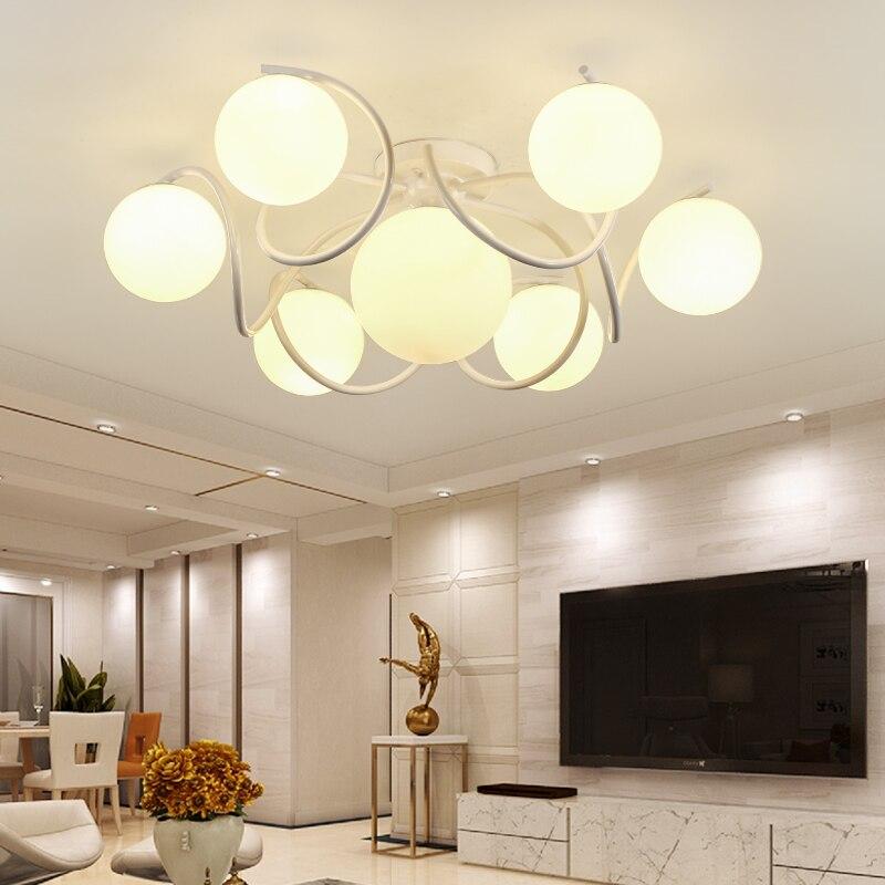 Estilo americano simples e moderno luzes de teto criativo sala jantar/restaurante quarto luz 4/7 cabeça e27 conduziu a lâmpada vidro cl523