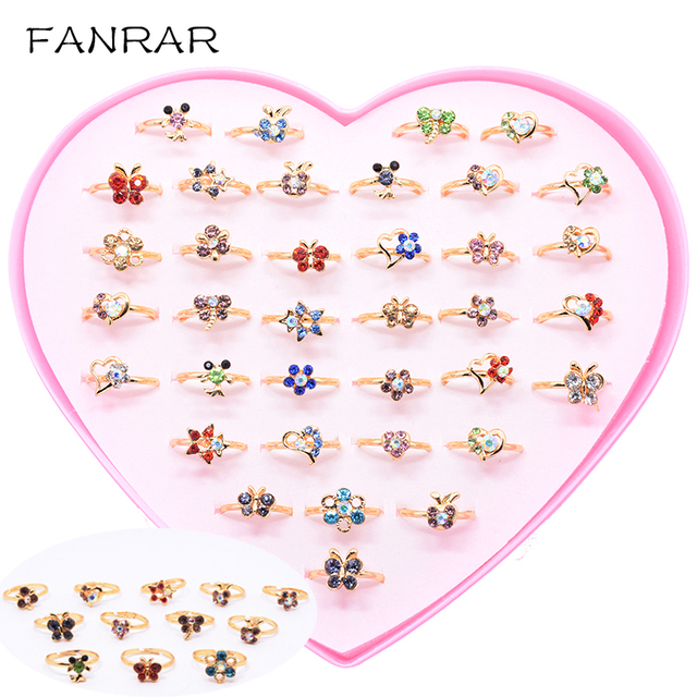 Wholesale Mixed 36pcs Kids Cartoon Assorted Flower Animals Crystal Alloy Adjustable Children Ring Girl Birthday Party Gift