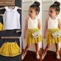 2016 Verão Quente Novas Crianças Do Bebê Meninas Sem Mangas T-shirt Tops de Blusa Branca + Amarelo Floral Mini Saia do Vestido da Roupa Terno Costume 2-7A