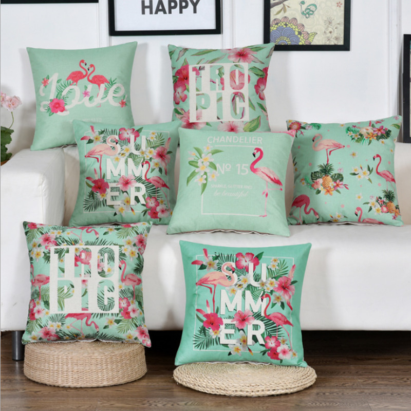 Tropic Summer Time Jungle Flamingo Cushion Cover Cotton Linen Decorative Throw Pillow Seat Sofa Embrace Case Home
