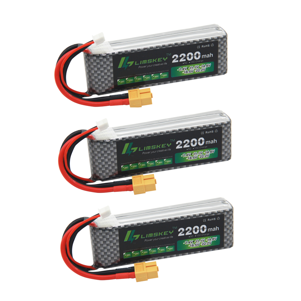 3PCS Limskey Power Brand New Lipo <font><b>Battery</b></font> 11.1V 2200 mAh 25C MAX 50C <font><b>3S</b></font> T Plug for RC Car Airplane T-REX 450 Helicopter Part image