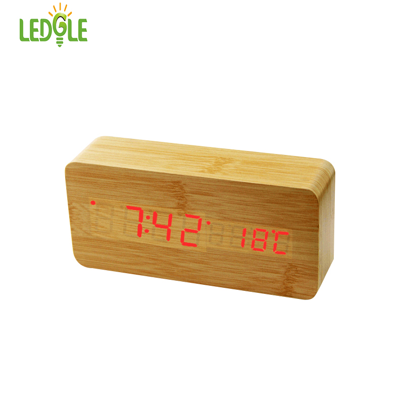 LEDGLE Desk Alarm Clock Digital Clock with 3 Alarm Clock Sets and Dual Power Supply Displays Time and Temperature Wood Texture