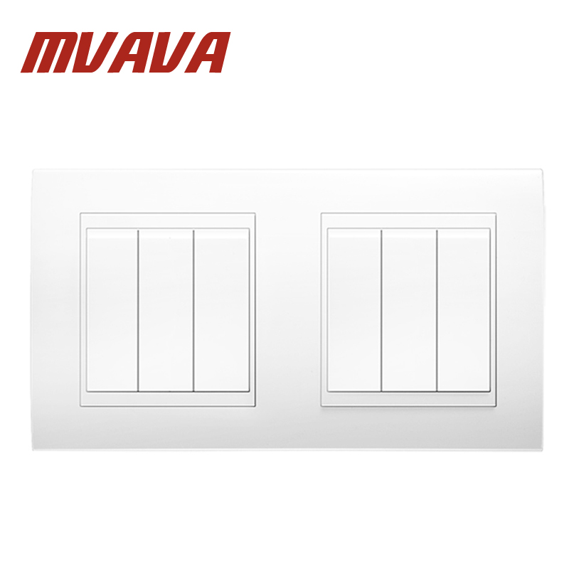 MVAVA 6 Gang Double Electrical Wiring Push Button Light Wall Switch 16A 110~250V 220V Fire Proof White PC Panel 16A 146*86MM large panel wall switch acme elegant white simple and fashion decoration switch 3 gang double control switch 86mm 86mm