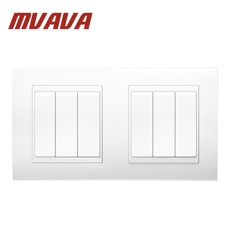 √MVAVA 6 Gang Double Electrical Wiring Push Button Light Wall ...