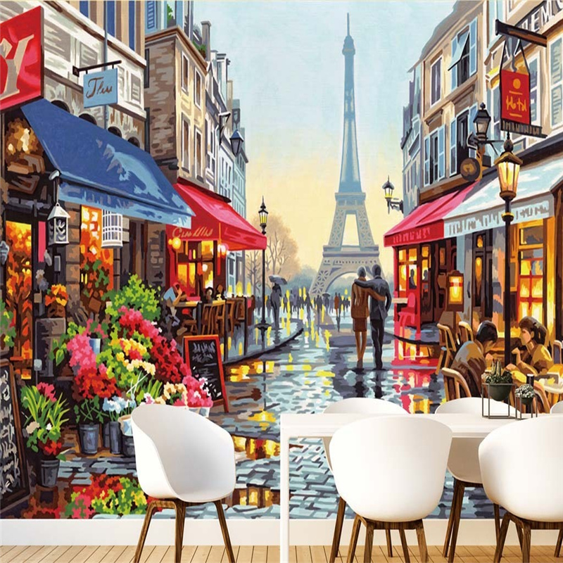 European Style Wallpapers Street Oil Painting Murals 3D Custom Photo Murals for Cafe Restaurant Living Room Decor Wall Papers free shipping 3d european style street night wall painting cafe hotel restaurant bedroom sofa backdrop wallpaper mural