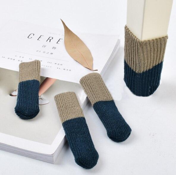 4 шт. вязаные носки для ног на стуле домашняя мебель защита для ног Нескользящие ножки для стола - Цвет: navy